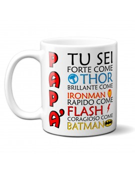 TAZZA in ceramica per festa del papà padre idea regalo SUPEREROE MARVEL GR416