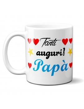 TAZZA in ceramica per festa del papà padre idea regalo TANTI AUGURI CUORI GR417