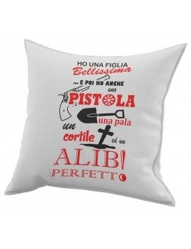 Cuscino in cotone per festa del Papà idea regalo ALIBI PERFETTO GR413