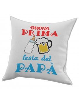 Cuscino in cotone per festa del Papà idea regalo BUONA PRIMA BIBERON BIRRA GR420
